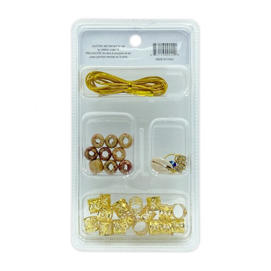 Ebo Braid Hair Ring Hair Decorations Braiding Kit Assorted Style A Gold