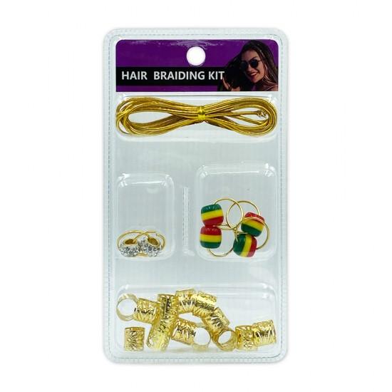Ebo Braid Hair Ring Hair Decorations Braiding Kit Assorted Style B Gold