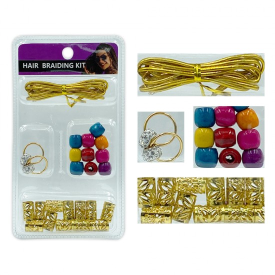 Ebo Braid Hair Ring Hair Decorations Braiding Kit Assorted Style C Gold