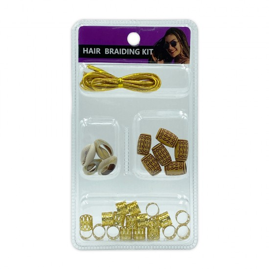 Ebo Braid Hair Ring Hair Decorations Braiding Kit Assorted Style D Gold