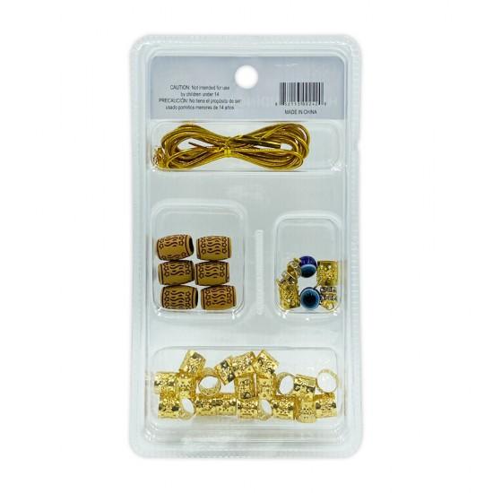 Ebo Braid Hair Ring Hair Decorations Braiding Kit Assorted Style E Gold