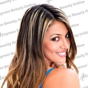 "14"" clip in - 7pcs synthetic hair extension name - medium brown/pure blonde (4/613)"