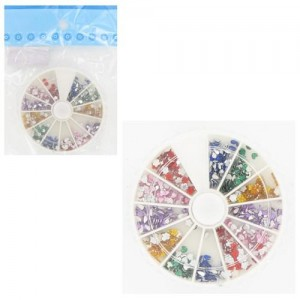Ebo Round Case Rhinestone Shapes Assorted Color & Pusher 100pc