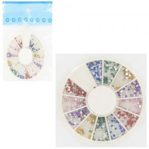 Ebo Round Case Rhinestone Assorted Color & Pusher 100pc