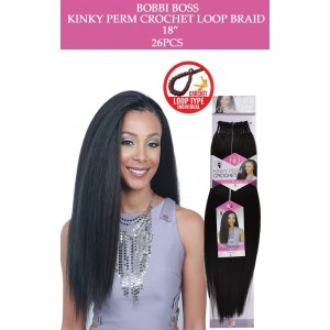 "Bobbi Boss Synthetic Hair Crochet Braid Loop Kinky Perm 18"""