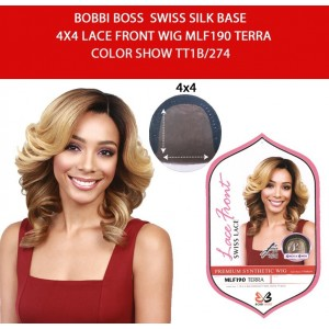 Bobbi Boss Synthetic Swiss Silk Base 4x4 Lace Front Wig Mlf190 Terra