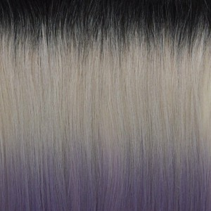 "18"" clip in - 7pcs synthetic hair extension -straight- black grey purple pastel"