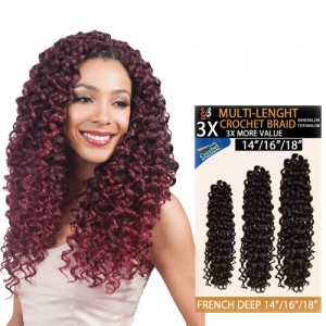 "Bobbi Boss Synthetic Hair Crochet Braid 3x Multi Pack 14""/16""/18"" French Deep"