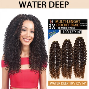"Bobbi Boss Synthetic Hair Crochet Braid 3x Multi Pack 10""/12""/14"" Water Deep"