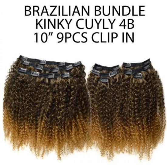 "Ebo Brazilian Bundle 100% Human Hair & Premium Mix Clip In Extension Kinky Curly 10"" 4b 9 Pcs"