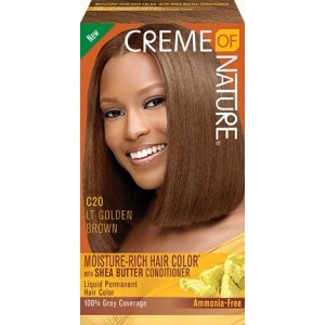CREME OF NATURE MOISTURE-RICH HAIR COLOR WITH SHEA BUTTER CONDITIONER C20 Light Golden Brown