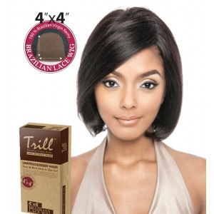 TRILL BRAZILIAN UNPROCESSED VIRGIN 100% REMY HUMAN 4x4 LACE WIG BAMBOO 10""