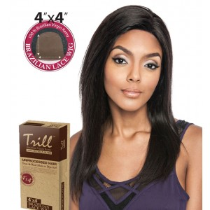 TRILL BRAZILIAN UNPROCESSED VIRGIN 100% REMY HUMAN 4x4 LACE WIG CHESTNET 20""