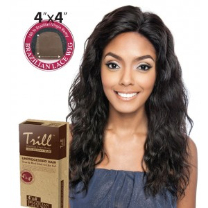 TRILL BRAZILIAN UNPROCESSED VIRGIN 100% REMY HUMAN 4x4 LACE WIG MAPLE 20""
