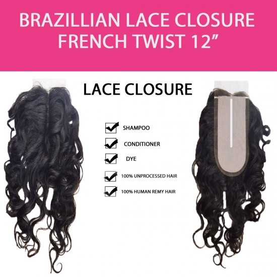 Brazilian 100% Remy Human Hair Silk Lace Closure  French Twist 12
