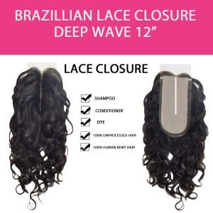 "Brazilian 100% Remy Human Hair Silk Lace Closure  Deep Wave 12"""