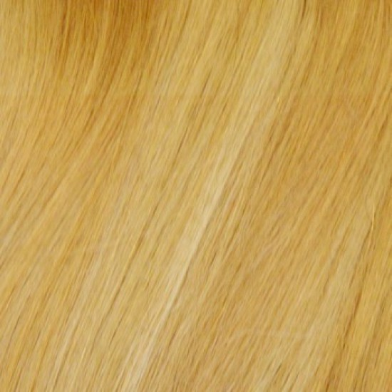 18 clip in - 9pcs 100% human hair extensions - light ash brown/golden blonde (14/24)