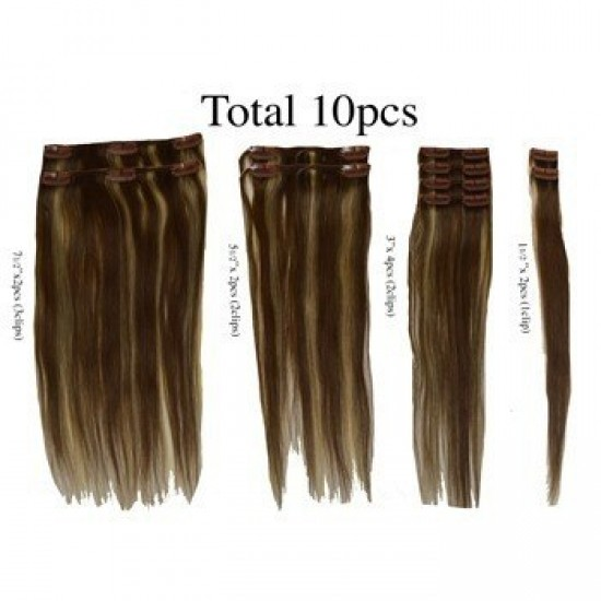 12 clip in 10 pcs 100% human remi hair extensions -straight- auburn (30)