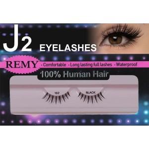 J2 Eyelashes 100% Remy Human Hair # 102 Black