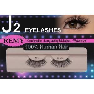 J2 Eyelashes 100% Remy Human Hair  #105 Black