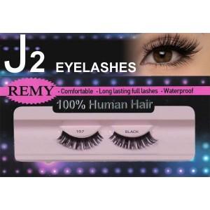 J2 Eyelashes 100% Remy Human Hair  #107 Black