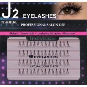J2 Eyelashes 100% Remy Human Hair # Natural Long Black