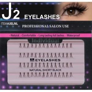 J2 Eyelashes 100% Remy Human Hair  # Natural Short Black