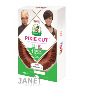 "Janet Collection Pixie Cut 38 Pcs + 8"" 100% Human Hair Weave"