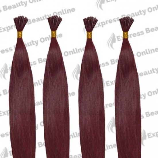 18 fusion-i tip - 140pcs 100% human hair extension name - burgundy (bur) - straight