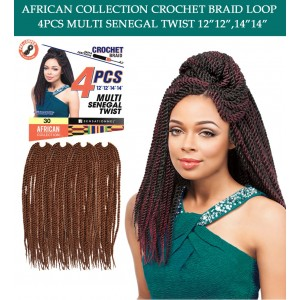 "Sensationnel Synthetic Hair Crochet Braid Loop Multi Senegal Twist 12""-14"""