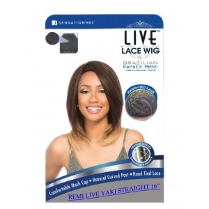 Sensationnel Live Brazilian 100% Remi Human Hair Lace Wig Yaki Straight 16""