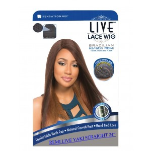 Sensationnel Live Brazilian 100% Remi Human Hair Lace Wig Yaki Straight 24""
