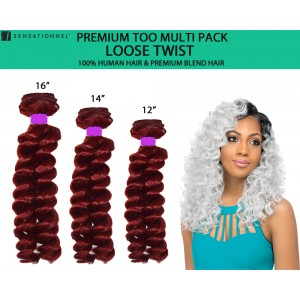 Sensationnel Premium Too Multi Pack 100% Human Hair & Premium Blend Hair Weave Loose Twist