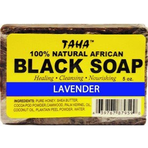 Taha African Black Soap 100% Natural Lavender 5 Oz